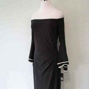 Ralph Lauren Dresses - NWT Black Off Shoulder Bell Sleeve High Slit Gown